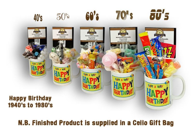 Happy Birthday Mug with/without a generous selection of 40's/50's/60's/70's or 80's Sweets